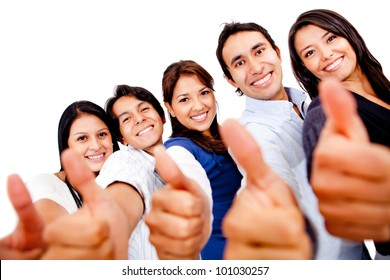 Happy group of friends with thumbs up - isolated over white