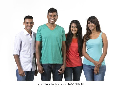 Happy group of Indian friends. Isolated on a white background.