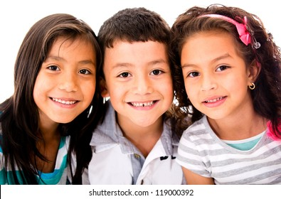 Happy group of kids - isolated over a white background