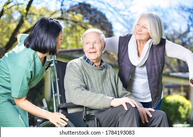 Happy group of mature elderly people spending time outdoor.