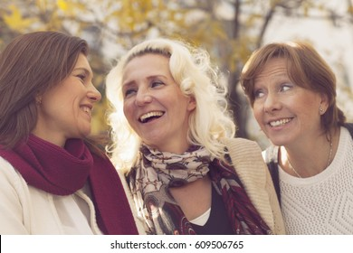 Happy group of mature women having fun