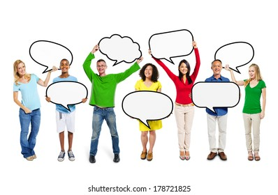 Happy Group of Multi-ethnic People with Speech Bubbles