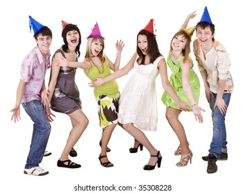 Happy group of people celebrate birthday. Isolated.