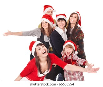 Happy group people with children in santa hat .  Isolated.