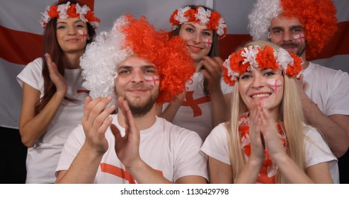 Happy Group of People Fanatic English Supporters Celebrate Victory or Football Goal of Preferred England Team in International Sport Event or Political Manifestation