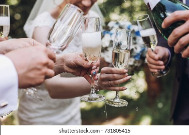happy group of people toasting with champagne. woman holding glass of champagne. bride bridesmaids and groom groomsmen having fun. holiday celebration. christmas