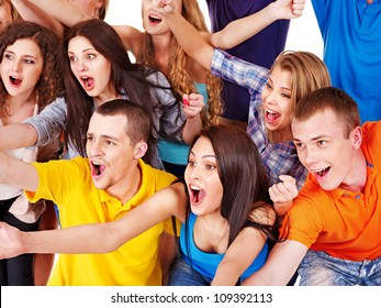 Happy group sport fan cheer for. Isolated.