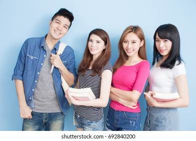 happy group student on the blue background
