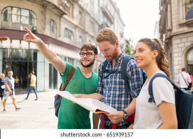 Happy group of students on adventure