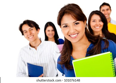 Happy group of students smiling - isolated over a white background