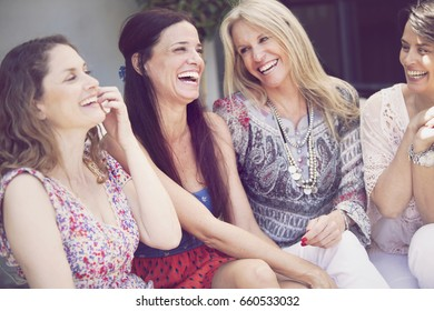 Happy group of women having fun