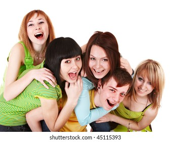 Happy group of young people in green.  Isolated.
