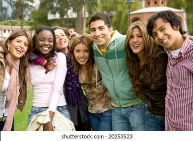 happy group of young people at a university college