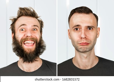 happy guy with beard and without hair loss. Man before and after shave or transplant. haircut set transformation