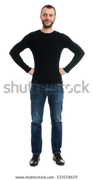 happy guy with his hands on hips. Isolated on white. Full length