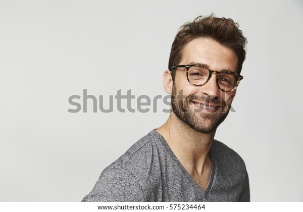 Happy guy in spectacles, portrait