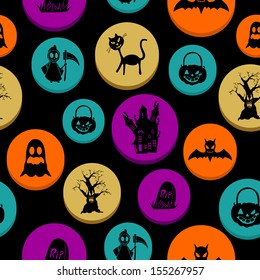 Happy Halloween colorful elements seamless pattern background.
