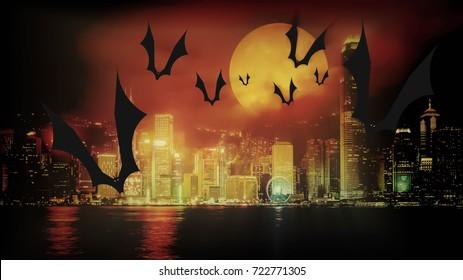 happy Halloween in dark night