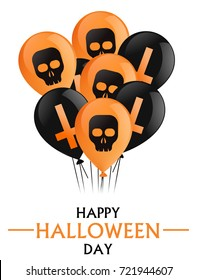 Happy Halloween day. An armful of black and orange balloons with crosses and skulls.  flat illustration