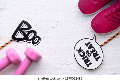 Happy Halloween day with Fitness, Exercise, Working out healthy lifestyle background concept.  Flat lay Top view.