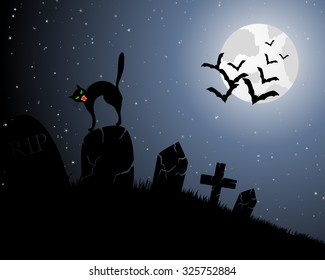 Happy Halloween Greeting Card. Elegant Design With Cemetery, Cat on Grave, Moon on Starry Sky and Silhouettes of Flying Bats.