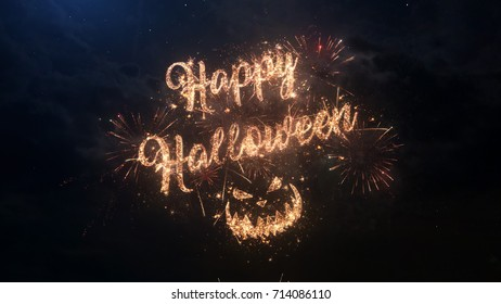 Happy Halloween greeting text with particles and sparks on black night sky with colored slow motion fireworks on background, beautiful typography magic design.