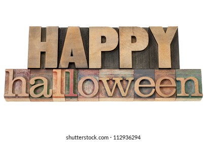 Happy Halloween - isolated text in vintage letterpress wood type