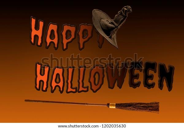 Happy Halloween Magic Spell Flying Broomstick Stock Photo