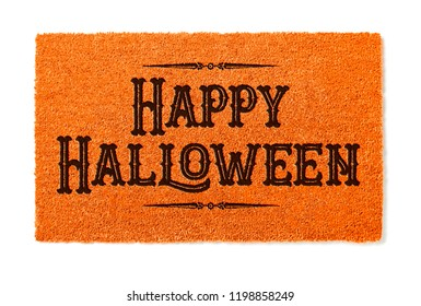 Happy Halloween Orange Welcome Mat Isolated on White Background.
