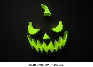 Happy Halloween Party Night Card And Brochure With Grinning Jack O.  Halloween Pumpkin, Dark