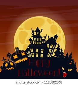 Happy Halloween postcard with pumpkins and scary horror house silhouette at night.