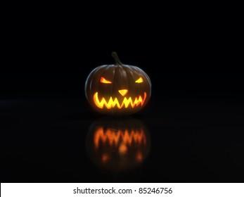 happy halloween pumpkin on black