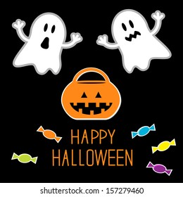 Happy Halloween set. Ghosts, pumpkin, candies. Card. Rasterized copy