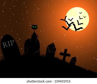 Happy halloween theme greeting card.