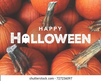 Happy Halloween Typography With Pumpkins Background