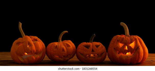 Happy Halloween typography with pumpkins background.October traditional latern light.