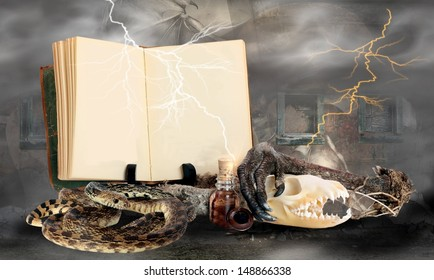 Happy Halloween Witches Potion Book with Blank Pages and Room for Your Text with some Ingredients for a Bubbly Halloween Brew