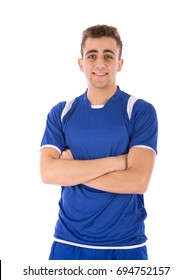 Happy handsome athlete young man smiling and standing confidently, guy wearing blue t-shirt and blue short, isolated on white background