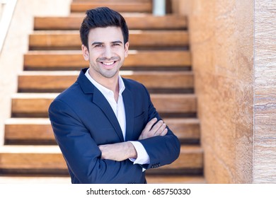 Happy Handsome Business Man Outdoors