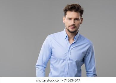 Happy handsome man wear blue shirt