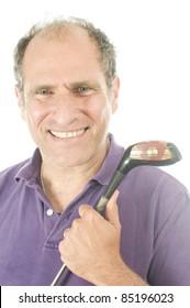 happy handsome middle age senior golfer man wood golf club