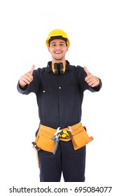 Happy handsome young worker smiling and thumbs up, guy wearing workwear and belt equipment with yellow helmet, isolated on white background