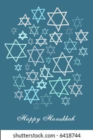 Happy Hanukkah stars in different blues on a dark blue background