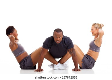happy health group people exercising on white background