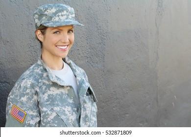 Happy healthy army female soldier