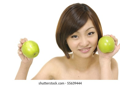 happy healthy attractive woman with apple