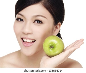 happy healthy attractive woman with green apple