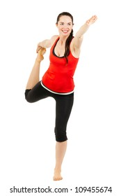 A happy healthy beautiful woman doing a yoga stretch. Isolated on white.