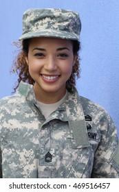 Happy healthy ethnic army female soldier