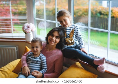 happy healthy family having rest at home